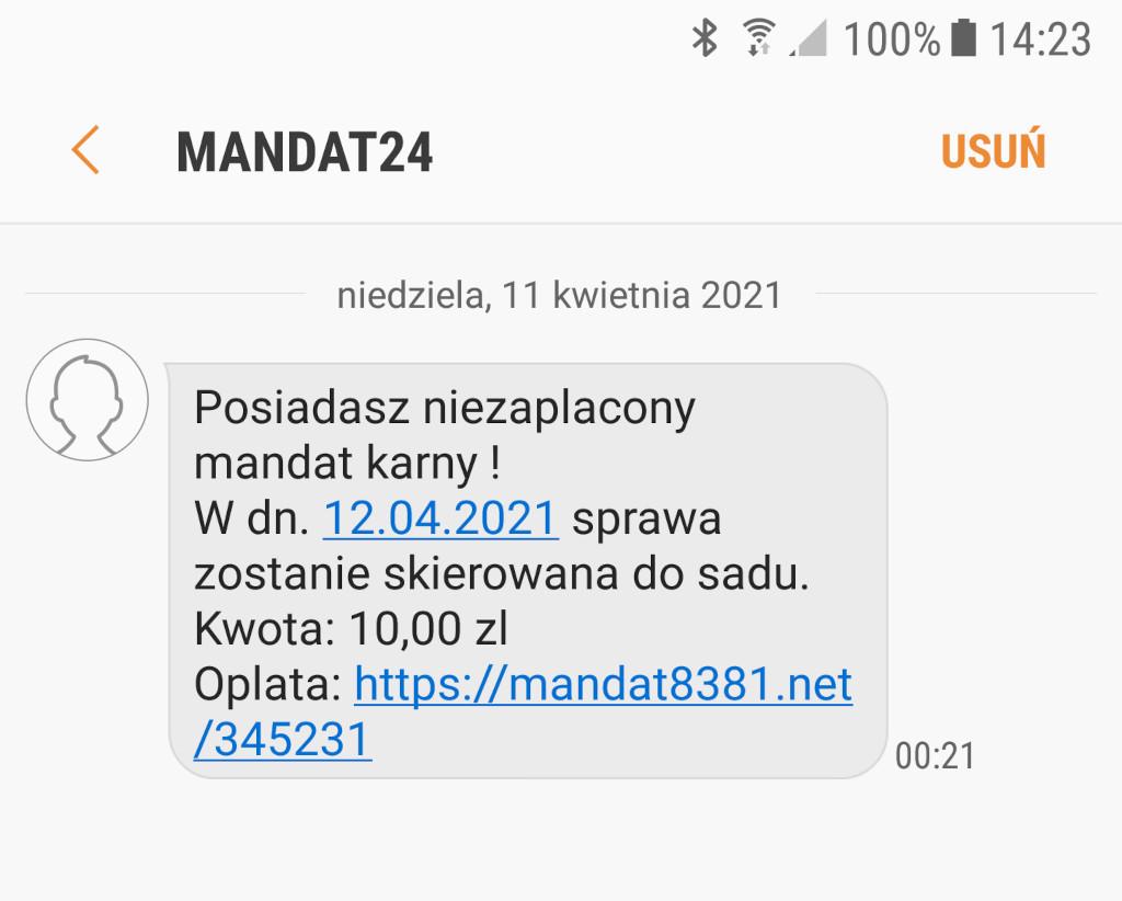 Przykładowy screen SMSa oszustów, nadawca: MANDAT24